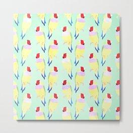 Cute Watercolor rainbow finch bird Mint Pattern Metal Print