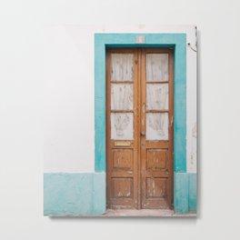 Rustic Door Print #doorprint #door #blueart Metal Print