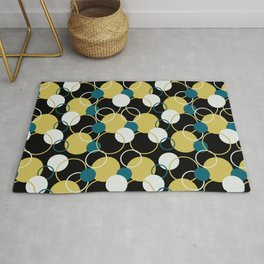 Off White, Dark Yellow and Tropical Dark Teal Inspired by Sherwin Williams 2020 Trending Color Oceanside SW6496 Solid Color Circles and Rings Pattern Rug
