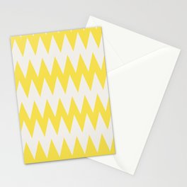 Zigzag Line Pattern Yellow and Off White Pantone's Color of the Year 2021 Illuminating 13-0647 Stationery Cards