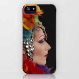 Drag Queen in Rainbow Headdress (Profile) iPhone Case