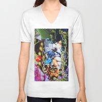 vegetable V-neck T-shirts featuring Vegetable Gremlin by John Turck