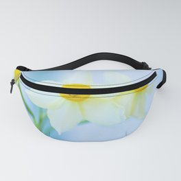 White and yellow narcissus Fanny Pack