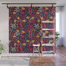 Autumn seamless pattern with floral decorative elements, colorful design Wall Mural