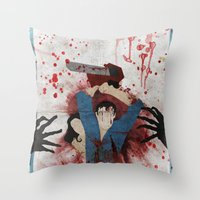 evil Throw Pillows featuring Evil by Spectacle Photo