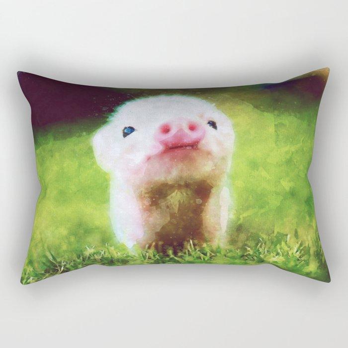 CUTE LITTLE BABY PIG PIGLET Rectangular Pillow