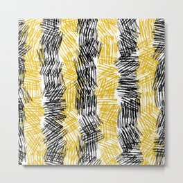 Bold Criss Cross Hatch Texture Painting in Black & Yellow. Ink Artwork Metal Print