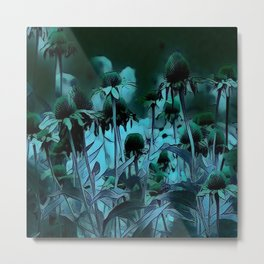 Deep Blue Flowers Metal Print