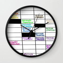 Rainah Jamean Crossword Puzzle Wall Clock