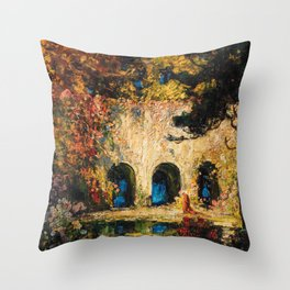 Romantic Parisian Floral Enchanted Garden Scene, Solitary Thoughts by Thomas Edwin Mostyn Throw Pillow