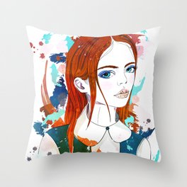 Red-haired girl Throw Pillow