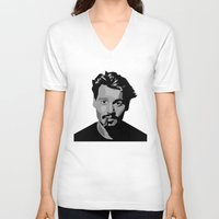 johnny depp V-neck T-shirts featuring Johnny Depp by Tori Kim