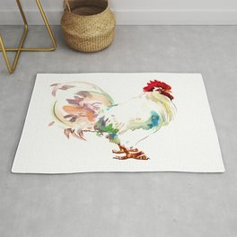 White Rooster Rug