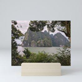 Amazing View of Mountains   Green Surrounding   Still Water   Nature Mini Art Print