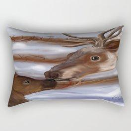 Reindeer and baby, stunning hand drawn artwork Rectangular Pillow