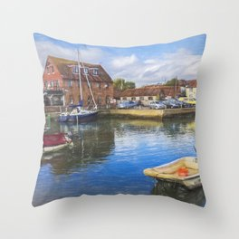 Boats At Emsworth Harbour Throw Pillow
