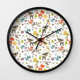 Cute Woodland Creatures Pattern Wall Clock