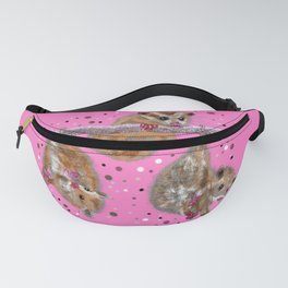 Possum trio on a branch - Pink Fanny Pack