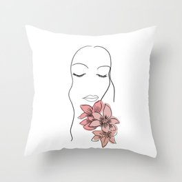 Minimalist woman with flowers line art, pink Throw Pillow