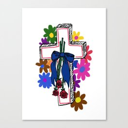 ♡ flowered cross ♡ Canvas Print
