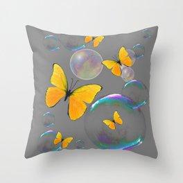 IRIDESCENT BUBBLES & YELLOW BUTTERFLIES GREY ART Throw Pillow