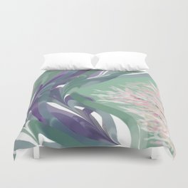 Deep Ocean River Abstract In Soft Green and Purple Duvet Cover
