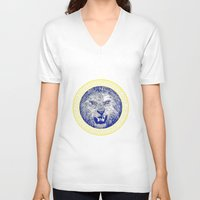 versace V-neck T-shirts featuring Versace Lion by Hans Poppe