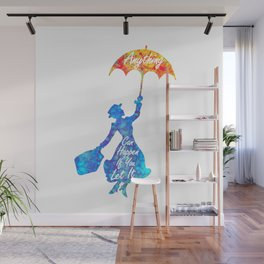 Anything Can Happen If You Let It - Mary Poppins Quote - colorful watercolor splatter Wall Mural