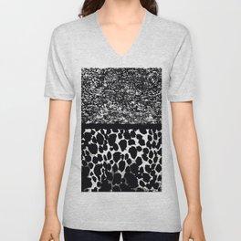 Animal Print Leopard Gray White and Black Unisex V-Neck