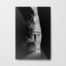 The Treasury Building of Petra as Seen Through the Siq Metal Print