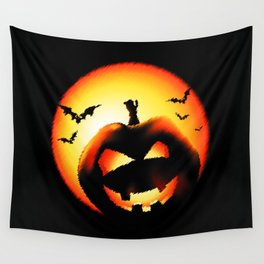 Smile Of Scary Pumpkin Wall Tapestry
