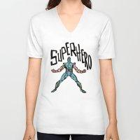 superhero V-neck T-shirts featuring SuperHero by Logan_J