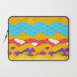 Summer bright pattern  scales simple Nature background with Chinese wave circle pattern Laptop Sleeve