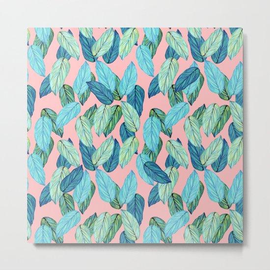 Tropical leaves on Pink Metal Print