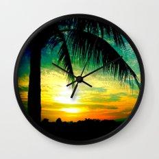 Summer Sunrise - Florida - Palm Trees  Wall Clock