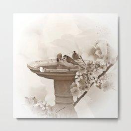 Bath Time in sepia Metal Print