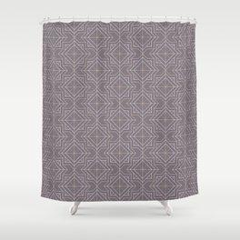 Minimal Geometric Pattern on Aubergine Background Shower Curtain