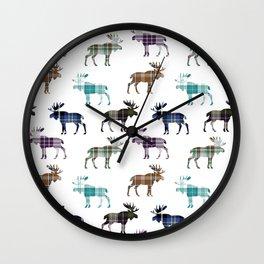 Plaid Moose III Wall Clock