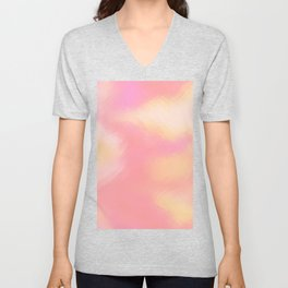 Modern abstract coral pink ivory watercolor Unisex V-Neck