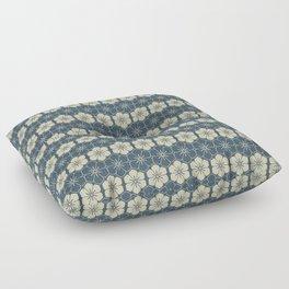Blue Floral Japanese Pattern Floor Pillow