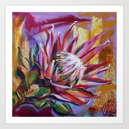 The King Protea - hot pink and yellow ochre Art Print