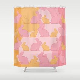 Hunny Bunny - Pastel Pink Yellow Rabbits Design Shower Curtain