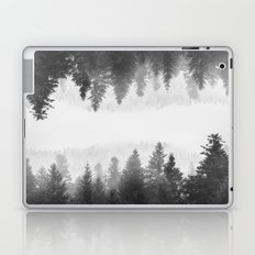 Black and white foggy mirrored forest Laptop & iPad Skin