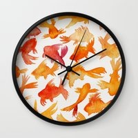 goldfish Wall Clocks featuring Goldfish by Cat Coquillette