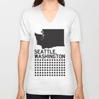 washington V-neck T-shirts featuring SEATTLE WASHINGTON by Party in the Mountains