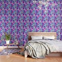 Dark pink and blue floral pattern by catyarte