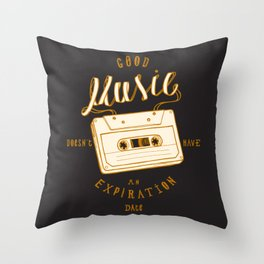 Good Music Cassette Throw Pillow