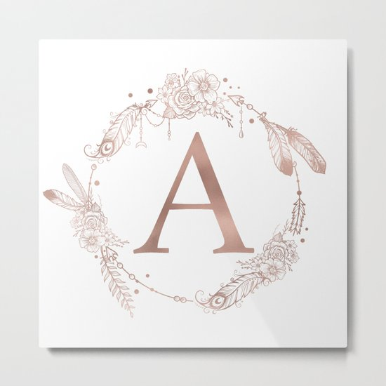 Letter A Rose Gold Pink Initial Monogram Metal Print
