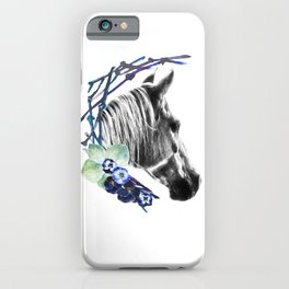 Grey horse with blue flowers iPhone Case