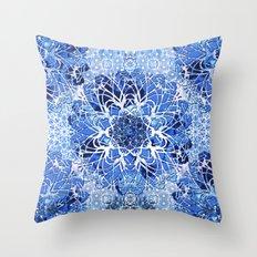 Sapphire Crochet Mandala Throw Pillow